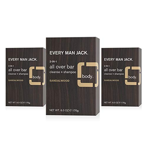 Every Man Jack Sandalwood Mens Soap Bar for Body and Hair - Bar Soap for Men with Shea Butter, Aloe Vera, and Glycerin to Deep Clean, Hydrate, and Soothe Skin - Naturally Derived, Zero Harmful Chemicals - 3 Pack