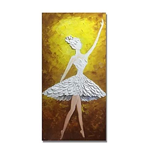 Olieverfschilderij op canvas handgeschilderd, abstract menig schilderij, wit gebloemde jurk balletmeisjes, luxe grote vintage moderne wooncultuur voor woonkamer slaapkamer kantoor hotel café 80×160 cm
