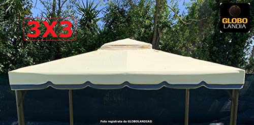 Telo Sabbia 500 gr Copetura Gazebo 3x3 Ricambio Impermeabile Doppia Balza Camino Antivento Ribalta Antipioggia Top Tetto Rinforzato in PU Nuovo