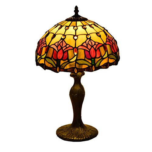 DALUXE Retro Rojo tulipán Mesa luz Pastoral Tiffany Escritorio lámparas 12 Pulgadas Moderna clásica rústica lámpara Lectura Lectura lámpara Sala de Estar Dormitorio decoración de Escritorio