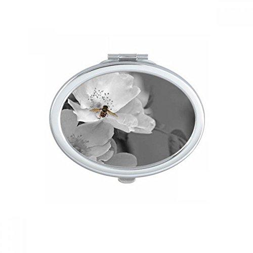 DIYthinker Blanc Beau Tournesol Ciel Bleu Ovale Maquillage Compact Miroir de Poche Portable Mignon Petit Miroirs Main Cadeau Multicolor