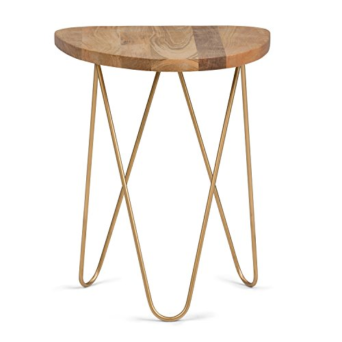 SIMPLIHOME Patrice Mid Century Modern 18 inch Wide Metal and Wood Accent Side Table in Natural, Gold, End, Bedside Table and Nightstand, for the Living Room and Bedroom