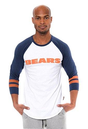 Ultra Game NFL Chicago Bears Mens Raglan Baseball 3/4 Long Sleeve Tee Shirt, White, Large