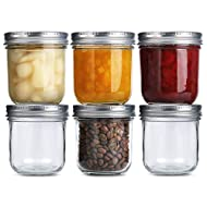 Wide Mouth Mason Jars 10 oz, KAMOTA 10oz Mason Jars Canning Jars Jelly Jars With Wide Mouth Lids and Bands, Ideal for Jam, Honey, Wedding Favors, Shower Favors, Baby Foods, 6 PACK