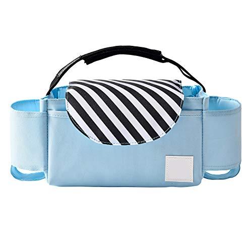 LYXCM del Organizador del Cochecito de bebé, Bolso Universal del Almacenamiento del Cochecito con 2 portavasos | Bolso de Mano Ligero Desmontable con Organizador para Padres Carry-All,B