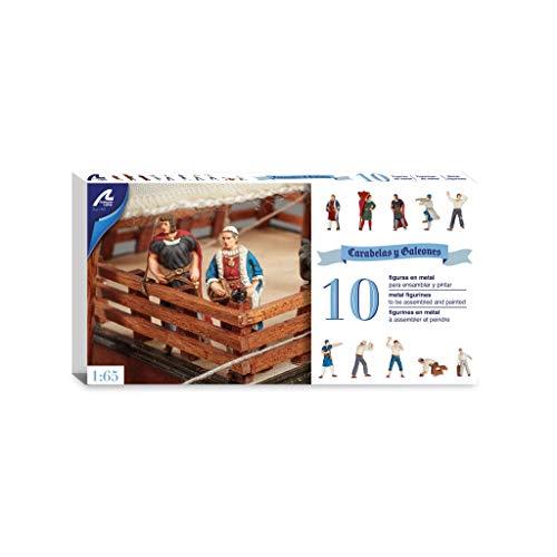 Artesanía Latina 22411F. Set de 10 Figuras en Metal 1/65 para Galeones y Carabelas