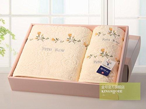 careforyou® kingshore 2 N85 de 3 pièces rose/jaune/bleu/motif fleur de Salle de Bain Serviettes de bain Gant de toilette serviette serviette de visage 100% coton First Class Produit