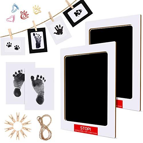 Baby Handabdruck und Fußabdruck Set, Mture baby fussabdruck Handprint set, Stempelkissen Ungiftig Inkless,Babyhaut kommt nicht mit Farbe in Berührung, Taufe Geschenk für Neugeborene, 2pcs, Schwarz
