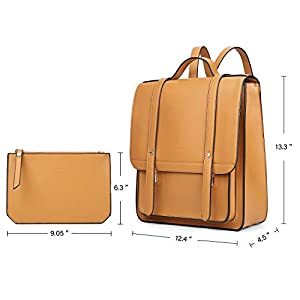 41G3cMHYw1L. SS300  - ECOSUSI Mochila Pase de Mujeres Impermeable Mochila para Portátil con Bolso Desmontable Bolso de maletín de Cuero Suave…