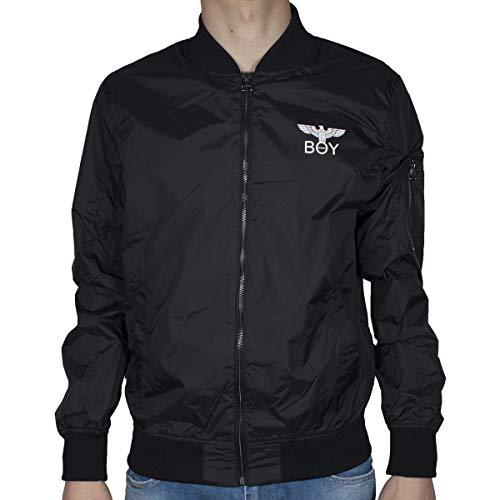Boy London Giubbotto Uomo Nero Bomber da Aviatore con Stampa con Logo e Zip BLU6145