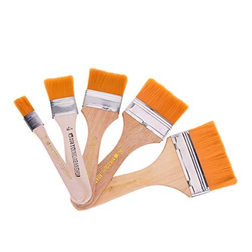 YoungRich 5 Stück Breite Pinsel Holz Pinselset Flachpinsel für Wände Trim Wand Pinsel Set Lasurpinsel Künstlerpinsel Grundierpinsel Verwaschpinsel Ölgemälde Grill Pinsel Künstler Aquarell Werkzeug