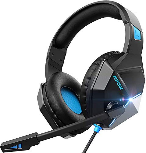 Mpow EG10 Gaming Headset Xbox One Headset PS4 Headset with 3D Surround Sound, Noise Cancelling Mic, 50mm Drivers & LED Light, Compatible with PC, PS4, Xbox One(2019 Edition)