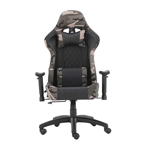 Gaming Racing Stuhl Ergonomische Liege PU Leder Computer Stühle für Erwachsene Teens mit 3D Armen, Kopfstütze und Rückenstütze Einstellbare Höhe Drehbar für Zuhause (Camouflage)