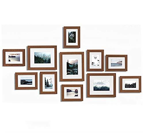 Muzilife Bilderrahmen Collagen 11er Set mit Passepartout Modern Bilderwand Natur Home Deko 8pcs 13x18cm + 3pcs 20x25cm (Braun)