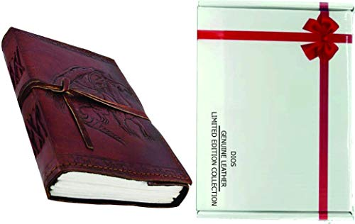 Dios Embossed Dragon Leather Journal, Leather Journal for Men and Woman with Leather Cord, (Size 3.5 by 5 Inches) Free Attractive Gift Box for Festival Season Xmas