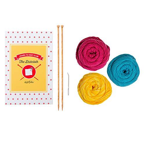 Knit Picks Learn to Knit Club: The Dishcloth - Beginner Knitting Kit (Bloom)