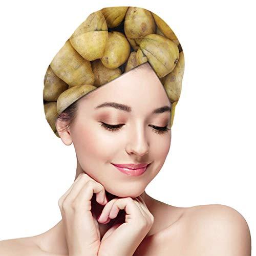 XBFHG Baignade Cheveux Secs Cap Lot de Pommes De Terre Crues Motif Abstrait Séchage Rapide Serviette Enveloppée Adulte Douche Tête De Bain Cap