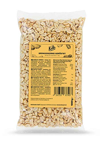 KoRo - Cacahuetes tostados sin sal ni aceite 1kg - gran paquete de cacahuetes naturales tostados sin sal, aditivos artificiales ni aceite