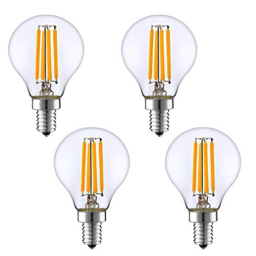 Lxcom Lighting E14 4W LED Filament Bulb Dimmable Vintage Edison Candle Light Bulb 4 Pack 2700K Warm White G45 Clear Glass Globe Lamp 400LM 40W Equivalent, AC 110V