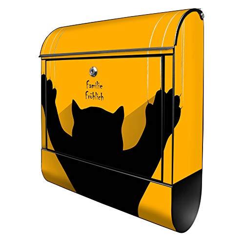 Banjado Design Briefkasten personalisiert mit Motiv WT Scratch | Stahl pulverbeschichtet mit Zeitungsrolle | Größe 39x47x14cm, 2 Schlüssel, A4 Einwurf, inkl. Montagematerial