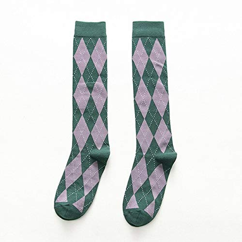 CYMTZ Klassische College Style Strümpfe Diamant Hose Japanische Schüler Knitting Lange Socken Mädchen Knie SockenArmee -Grün
