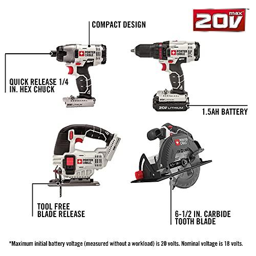 PORTER-CABLE 20V MAX Cordless Drill Combo Kit, 8-Tool (PCCK6118)