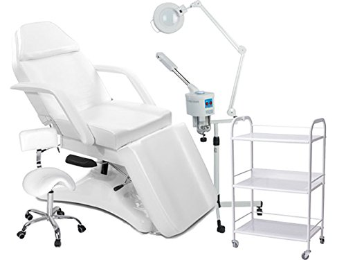 Kosmetikkabine 900234 weiß Liege + Arbeitsstuhl + Beistelltisch + Bedampfer