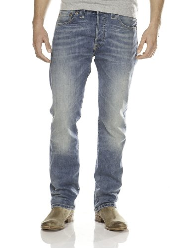 Levi's 501 Original Fit Jeans, Blu Pistelero Mid, 34W / 32L Uomo
