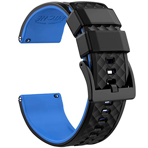 Ritche Silicone Watch Bands 18mm 20mm 22mm Quick Release Rubber Watch Bands for Men Women (Black/Blue/Black, 22MM)