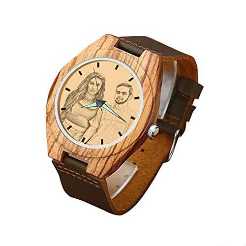Relojes Hombre Alskafashion Reloj Madera Personalizado Foto y Grabado Punteros Luminosos Cuarzo con Correa Cuero Regalo para Familia Hombre Mujer Amigo Pareja (Brown)