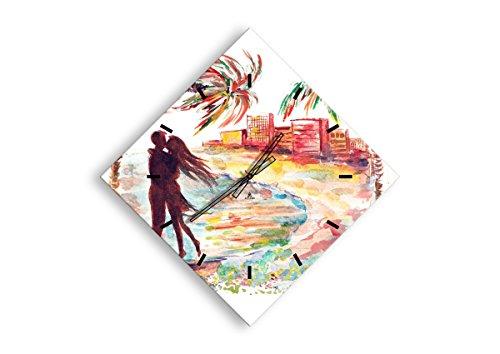 Horloge Murale - Losange - Horloge en Verre - Pendule murales - 85x85cm - 2989 - Mécanisme d'écoulement - Silencieux - prete a Suspendre - Moderne - Décoration - Pret a accrocher - C3AD60x60-2989