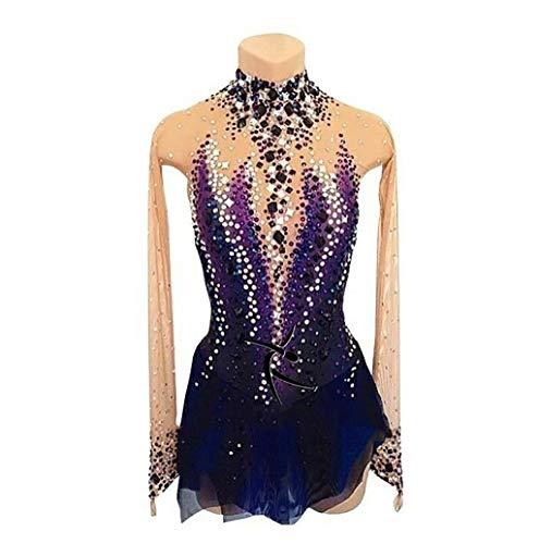 ZGDH Vestido de Patinaje artístico, Traje de competición de Patinaje púrpura para Mujer con Vestido de Patinaje sobre Ruedas de Manga Larga de Cristal, Hecho a Mano, Personalizable