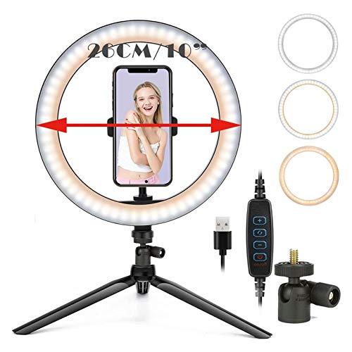 Zhice Rellenar fotografía iluminación teléfono trípode Stand Photo led Selfie Bluetooth (Color : NO Bluetooth)