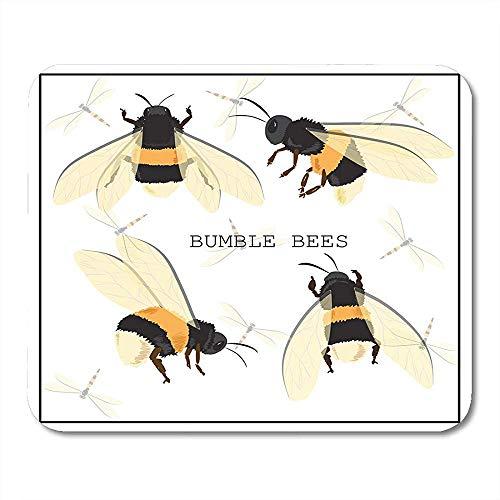QDAS Muispads bijen-hommel-honing-band van en insecten, de platte soort-witte dierenwant vliegen muismat voor notebooks, computer muismatten