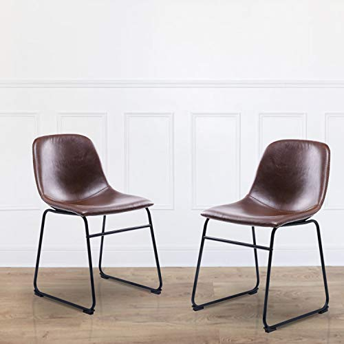 Rfiver Leather Dining Chairs Set of 2, Brown Faux Leather Bucket Seat and Black Metal Legs Upholstered for Home Kitchen Dining Living Room Bedroom Indoor, Industrial Mid Century Modern Style