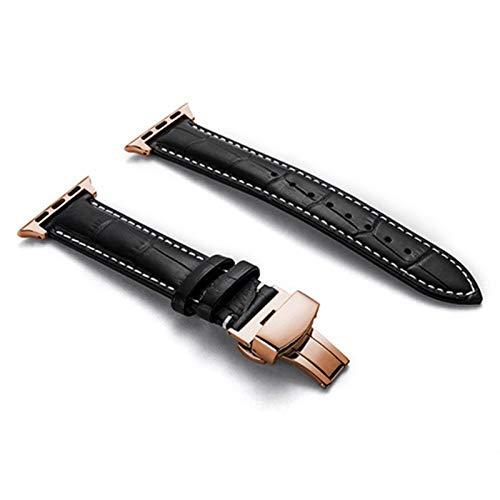 LAAGFC Correa de Cuero Genuino for la Banda de Reloj de Apple 44 mm 40 mm for Banda de iWatch 42mm 38mm Pulsera de cocodrilo Correa for el Reloj Apple 5 4 3 6