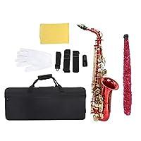 プロのアルトサックス、彫刻パターンのアルト楽器サックス、ナチュラルホワイトシェルボタン、ボックス、ブラシ、クラシック音楽アンサンブル/バンドに最適(赤)