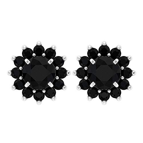 Pendientes redondos de 3/4 ct con diamante negro certificado en racimo de flores vintage, solitario, piedras preciosas oscuras, pendientes de tuerca, cómodos pendientes florales 10K Oro blanco, Par