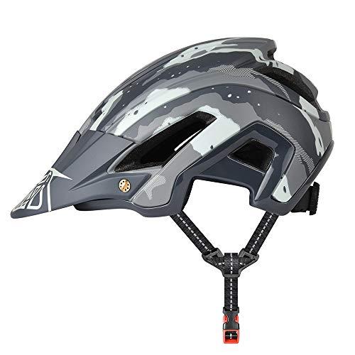 Fahrradhelm, leichter Mountainbike-Helm, 300 g, 56–60 cm, mit abnehmbarer Sonnenblende, verstellbare Passform, 15 Vetns MTB-Helm für Damen und Herren, Armeegrün