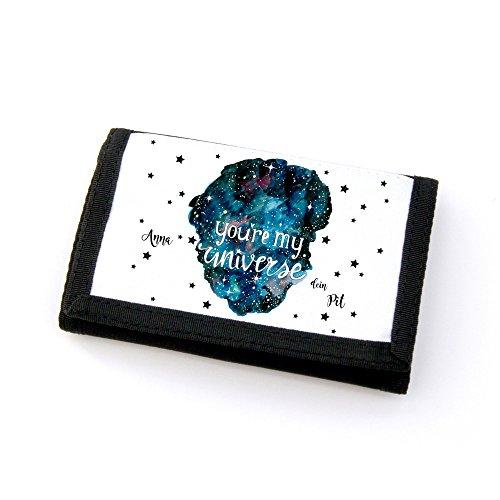 ilka parey wandtattoo-welt Portemonnaie Geldbörse Brieftasche You´re My Universe mit Wunschnamen gf31