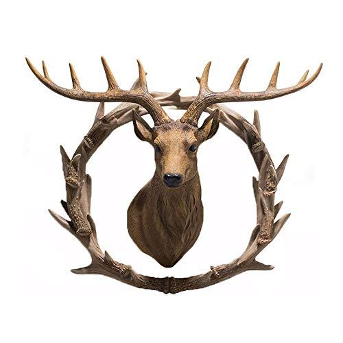 Esculturas Pared 3d Cabeza Ciervo,Anillo Asta Colgante Mural De Cabeza Animal Auspicioso,Colgante Decorativo En La Pared De Fondo De La Sala De Estar Porche Pasillo Decoración,Antlers+AntlerRing