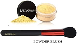 Mica Beauty(micabella) Mineral Foundation Mf-2 Sandstone for light Skin+ Sample Size Foundation +Wine Red High Quality Powder Brush +Sample Size
