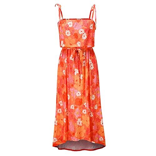 Hong Yi Fei-Shop Mujer Vestido de Verano de Verano Boho Vestido sin Mangas Party sin Espalda Alto High Low Hemline Swing Maxi Vestido Vestidos Casual (Color : Red A, Size : Large Size)