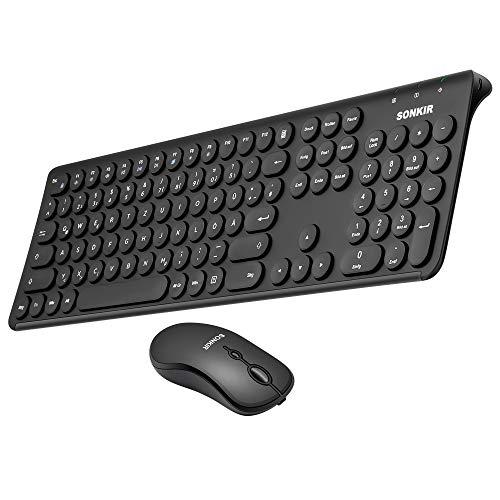 Sonkir K-20 Wiederaufladbare Tastatur Maus Set Kabellose, 2.4Ghz Wireless Ultradünne Funk Tastatur QWERTZ Deutsches Layout für Desktop, PC Computer, Laptop, Smart TV (Schwarz)