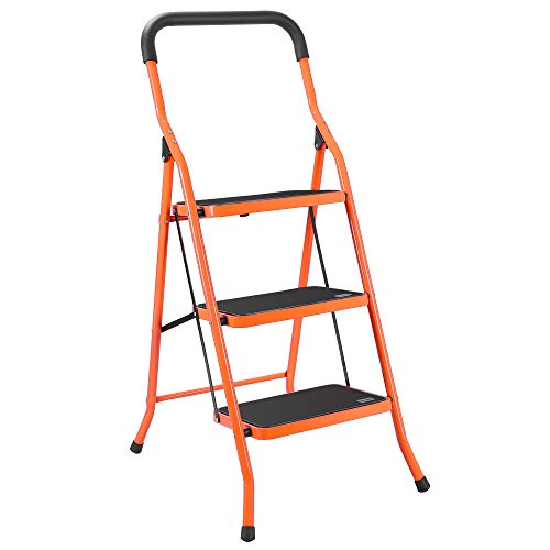 LUISLADDERS 3 Step Ladder Foding Step Stool Portable Lightweight Space Saving Ladders with Sturdy Steel and Anti-Slip Wide Pedal Multi-Use for Household, Office, Market
