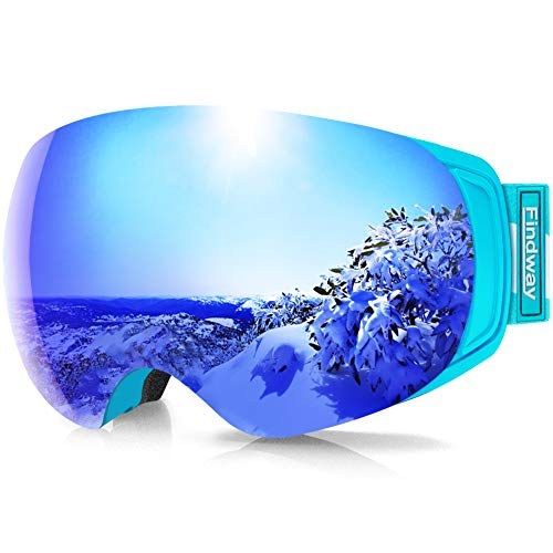 findway Ski Goggles, OTG Snowboard Goggles Magnet Interchangeable Lens