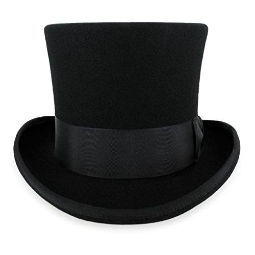 Belfry John Bull Theater-Quality Men's100% Wool Felt Top Hat in Black Large