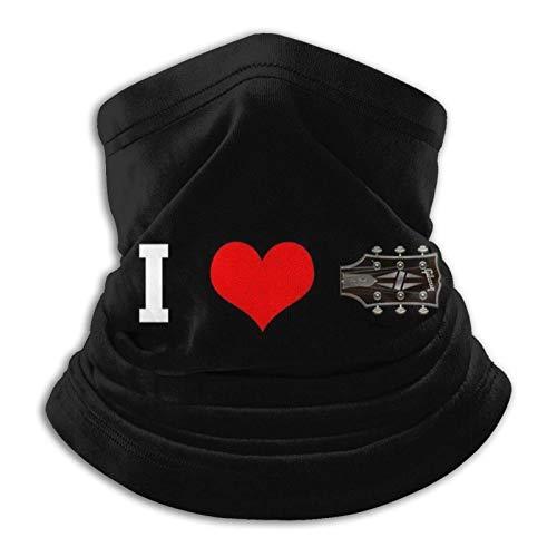Calentador de Cuello I Love Guitar Face Mouth Protección Facial al Aire Libre Polaina de Cuello para Hombres y Mujeres
