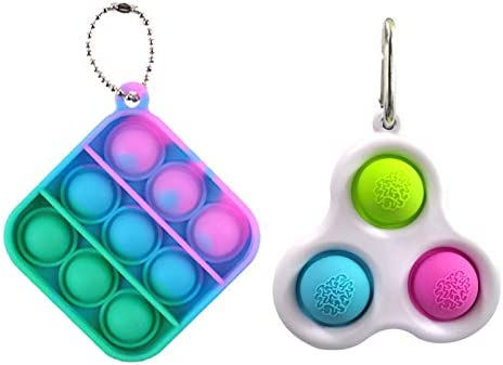 FROGBRO 2PCS Simple Dimple Fidget Toy with Keychain Silicone Sensory Toys for Adults Kids Stress Relief Decompression Toy