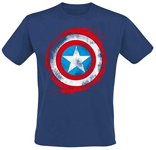 Capitán América Shield Logo Hombre Camiseta Azul Marino M, 100% algodón, Regul